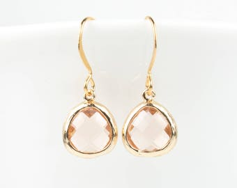 Tiny Blush Gold Earrings, Peach Gold Earrings, Champagne Gold Earrings, Bridesmaid Jewelry, Bridesmaid Gift, Blush Jewelry