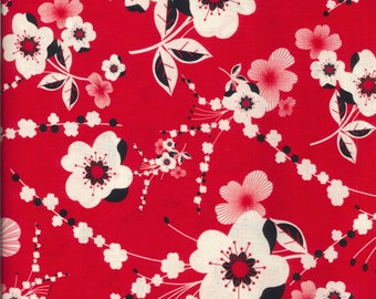 Moon Flower fabric red flowers beige and black