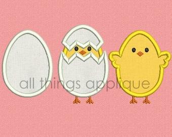 Easter Applique Design - Hatching Chick Trio (#608) - Easter Applique Design - 3 Sizes Included - INSTANT DOWNLOAD
