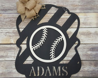 Baseball Door Hanger - Baseball Wall Hanging - Personalized Baseball Decor