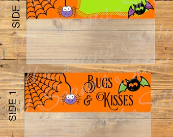 Bugs & Kisses /Halloween / Bag Topper / DIY / Printable / Digital Download / Instant download