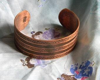Vintage Solid Copper Filigree Cuff Bracelet