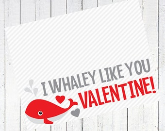 valentines day bag topper whale printable - Whale Valentine's Day Bag Topper Printable