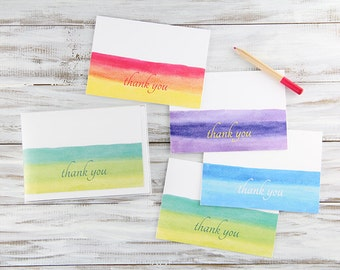 Blank Thank You Cards Set of 8 - Watercolor Thank You Cards in Green, Orange, Purple, and Blue