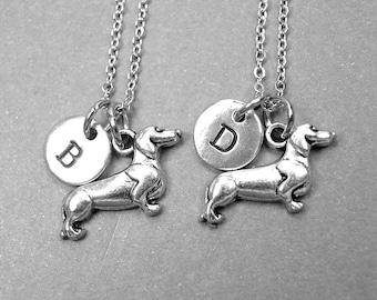 Best friend necklace, Dachshund necklace, dog necklace, dog jewelry, best friend jewelry, best friend gift, friendship necklace, monogram