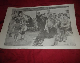 "Howard Chandler Cristy Print ""The Steamboat Orchestra"" B/W"