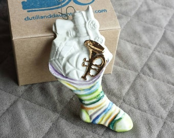 Toy-filled Stocking Ornament, Porcelain and Gold Ornament