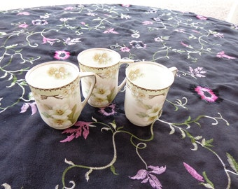 Lot of 3 Vintage German R S Company Handpainted Apple Blossoms trio of Demitasse  Espresso Cups - Gold Trimmed Delicate Trio Undamaged