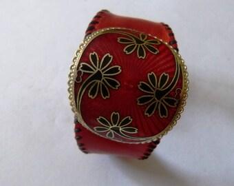 vintage bracelet, leather cuff F, red leather, vintage red enamel buckle