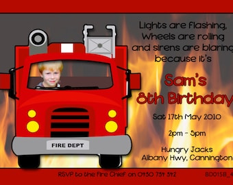 Photo Personalised Fire Engine Birthday Invitations - You Print