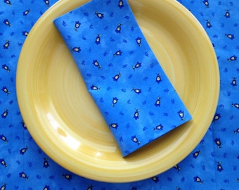 Blue French Provence Napkins, Blue Floral Napkins