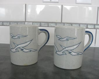 Set of 2 1970s Speckled Stoneware Ceramic Coffee Mugs Cups Seagulls