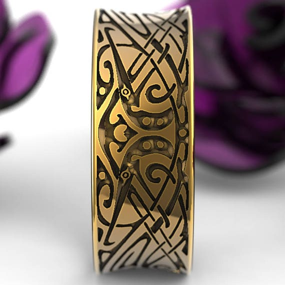 Gold Engraved Norse Wedding Ring With Unique Design in 10K 14K 18K or Palladium, Made in Your Size Cr-5090