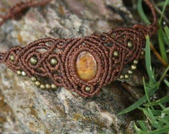 macrame jewelry with wrapped Jasper