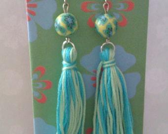 Ibiza style long dangling earrings with tassel, blue earrings, tassel earrings, boho, bohemian