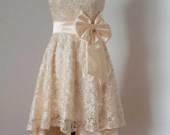 2015 Strapless Champagne Lace Short Front Long Back Bridesmaid Dress, Asymmetrical Lace Dress