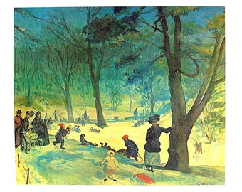Masterpiece Painting - William James Glackens - Central Park in Winter - 1966 Vintage Print Reproduction - 12 x 15