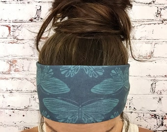 Boho Butterfly - Blue - Eco Friendly Yoga Headband