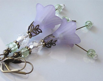 Crystal Flower Earrings, Lavender Flowers, Bohemian Wedding, Purple Lucite Earrings, Beaded Flower Dangle, Long Dangle Earrings