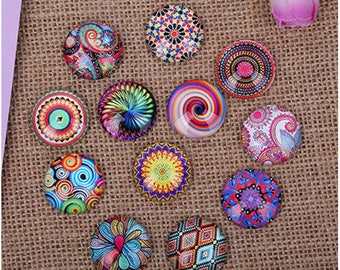 Set of 10 assorted multicolored round Cabochons