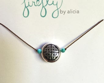 Silver Celtic Knot Disk Necklace