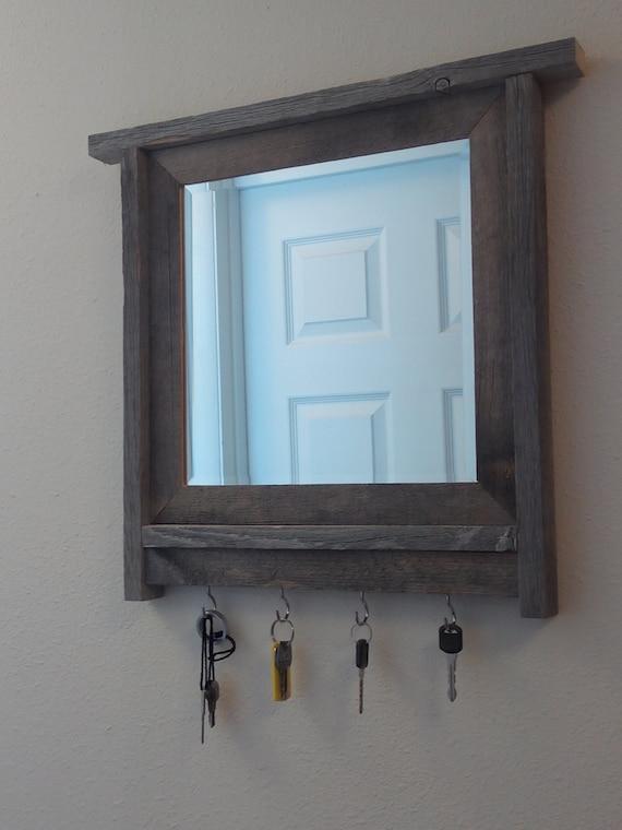 Barnwood Framed Mirror Key Holder Barnwood Frame