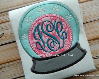 Snow Globe Monogram, Frozen Princess, Ice Princess, Ice Queen, Frozen Globe