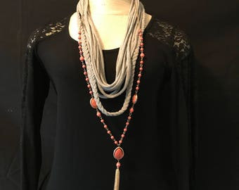 T-Shirt Scarf- Gray with Coral/Gold Chain