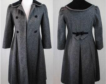 1970s Dress Coat // Vintage Wool Coat // Princess Coat // 70s Gray Wool Coat // Vintage Winter Coat // 70s Rothschild Coat // Witchy Coat