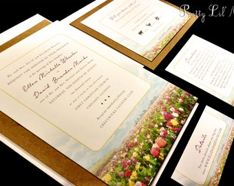 Watercolor Flower Field Custom Wedding Invitation Unique Paint Outdoor Floral Leaves Unique Spring Summer Fall Winter Kraft Water color