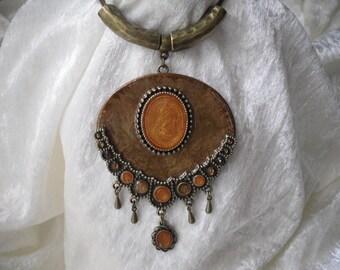 Orange necklace boho, hippie