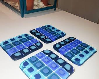 32 Square fused glass coasters - Handmade