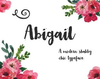 Abigail Brush Font - Hand drawn cursive script - Commercial Download