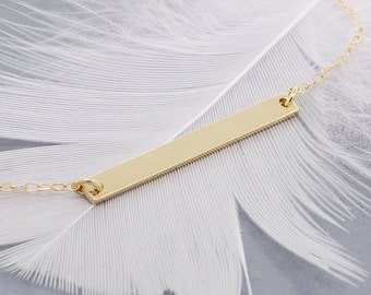 Gold bar necklace - minimal necklace - family necklace - layering necklace expecting mom gift