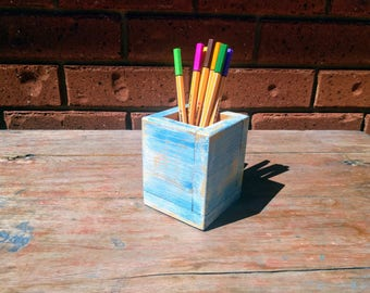 Blue Wooden Pen Holder - Farmhouse Decor Pencil Holder - Pallet Wood Pen Holder - Rustic Decor Pen Holder Desk