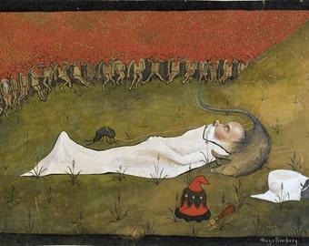 Hobgoblin King ~ Hugo Simberg ~ Children's Art ~ Fairytale Art - Finland - Finnish Art - Sleeping Man Poster - Unusual Wall Art