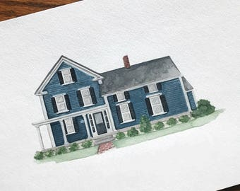 "9"" x 12"" Custom House Illustration"