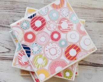 Donut Coasters, Ceramic Coasters, Womens Gift, Tile Coasters, Mother's Day Gift, Gift For Her, Dorm Decor, Housewarming Gift, Doughnut Decor