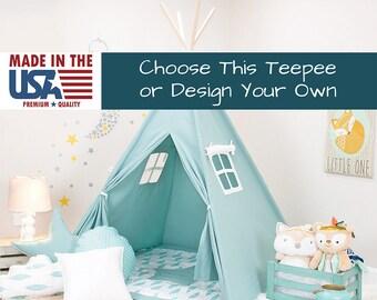 Solid Turquoise Teepee, teepee for kids, kids teepee, children teepee, teepee tent, play teepee, tipi, toddler tent, play tent, kids tent