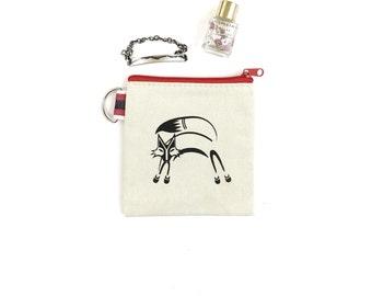 Stash Bag with Fox Print - Small Zipper Pouch