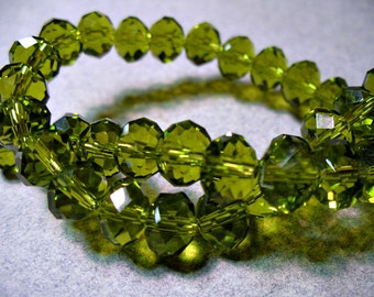 Crystal Beads Faceted Autumn Green Rondelles 8x5mm