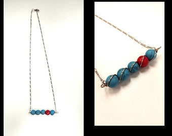 Turquoise and Red turquoise wire wrapped pendant necklace