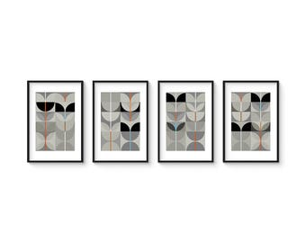 NIGHT SWAN - Collection of (4) Giclee Prints - Abstract Mid Century Modern
