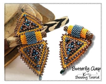 Peyote Stitch Triangle Delica Bead Clasp Beading Pattern Double Closure Snap on Closure Instructions Beaded Jewelry Tutorial BUTTERFLY CLASP