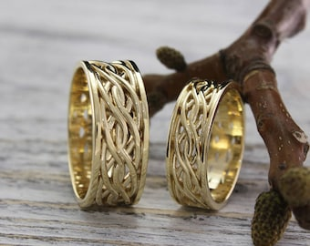 Braided wedding bands, Couples matching rings, His and Her wedding ring set, Wicker band set, Vine wedding bands, His and Her promise ring