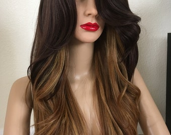 Golden Brown Wig 26 inch long wavy layered straight hair in the back very high quality wig