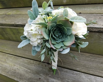Rustic Country Wedding Succulent Hydrangeas Ivory Rose with Lace Ribbon Bridal  Flower Bouquet