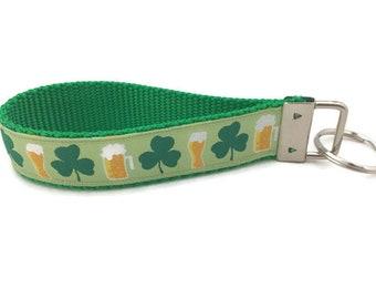 St Patricks Day, Shamrocks and Beer, Keychain, Key fob, Wristlet