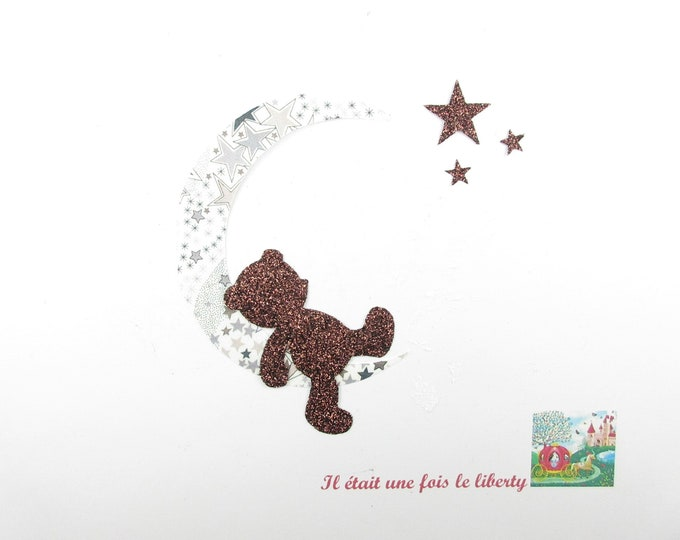 Applied fusing bear sleeping moon stars fabric liberty grey flex Adelajda glitter Thermo liberty bear applique