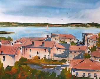 Original Watercolour Painting  | Seascape painting |  Watercolor painting |Ocean landscape painting /Original art/ Wall decor